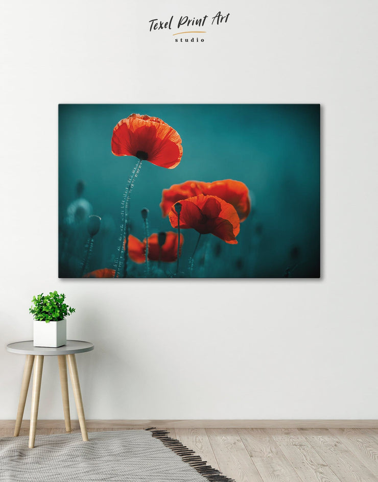 Red Poppy Wall Art Canvas Print - 1 panel bedroom Blue Dining room flora