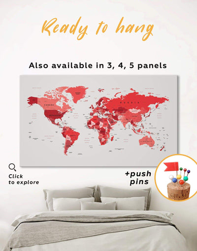 Red Push Pin Map Wall Art Canvas Print - 1 panel corkboard Living Room Office Wall Art Pushpin Travel Map