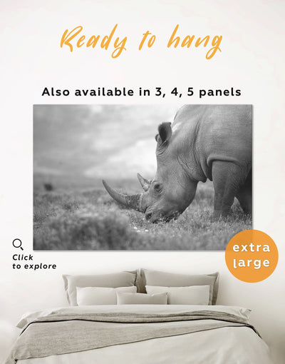 Rhino Wall Art Canvas Print - 1 panel Animal bedroom black and white wall art Dining room