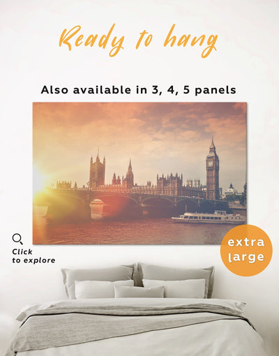 River Thames London Wall Art Canvas Print - 1 panel bedroom City Skyline Wall Art Cityscape Living Room