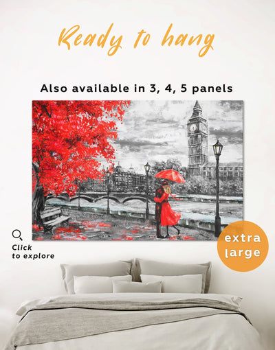 Romantic Couple Wall Art Canvas Print - 1 panel bedroom Living Room london wall art love wall art