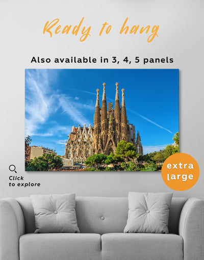 Sagrada Familia Print Canvas - Canvas Wall Art 1 panel bedroom Blue City Skyline Wall Art Cityscape