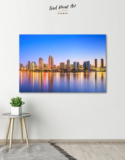 San Diego Wall Art Canvas Print - 1 panel bedroom City Skyline Wall Art Cityscape dining room wall art