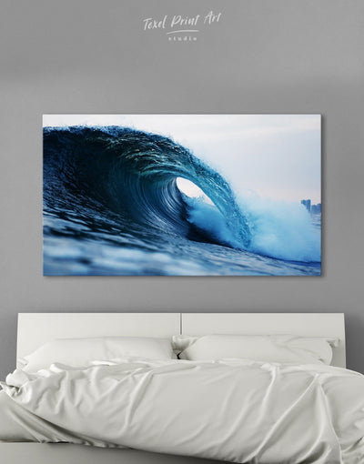 Sea Wave Wall Art Canvas Print - 1 panel bedroom Blue blue wall art for bedroom Blue wall art for living room