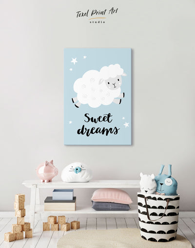 Sheep Nursery Decor Canvas - Canvas Wall Art 1 panel Blue Grey Kids room kids wall art