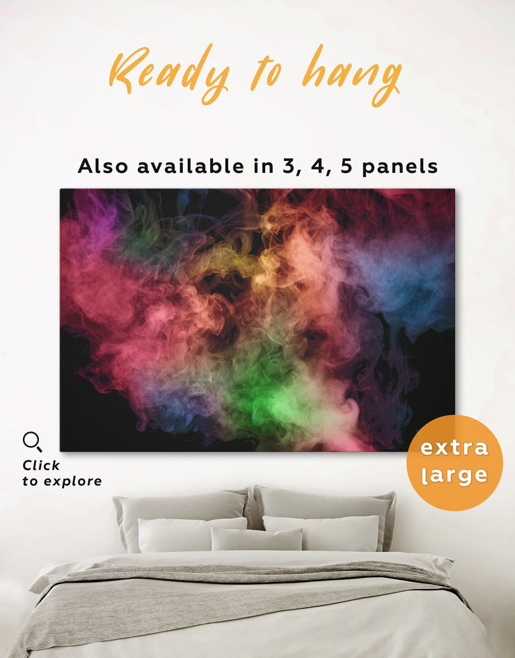 Smoke Wall Art Canvas Print - 1 panel Abstract bedroom Black Contemporary