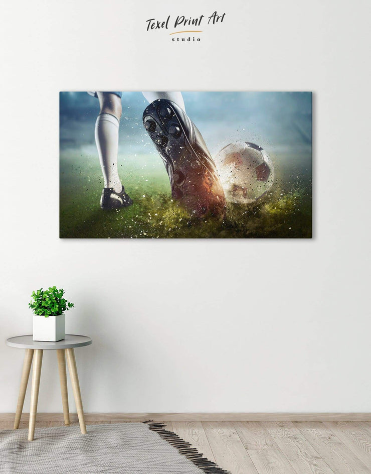 Soccer Wall Art Canvas Print - Canvas Wall Art 1 panel bachelor pad Football Wall Art green Hallway