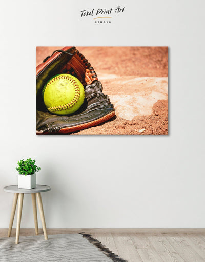 Softball Wall Decor Canvas Print - Canvas Wall Art 1 panel Living Room Office Wall Art softball Sports