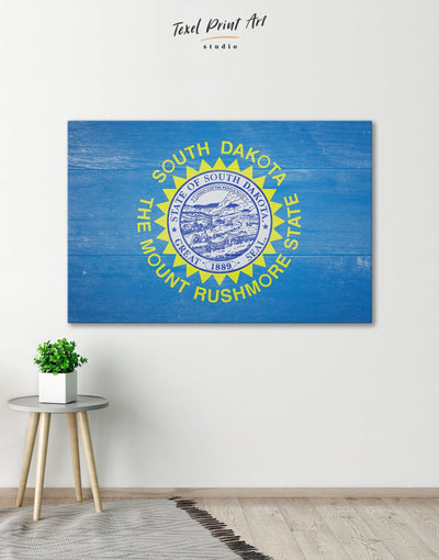 South Dakota Flag Patriotic Wall Art Canvas Print - 1 panel blue flag wall art Hallway Living Room