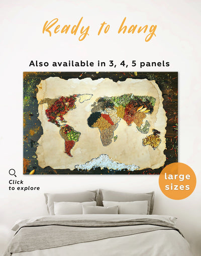 Spices World Map Wall Art Canvas Print - 1 panel Abstract Abstract map abstract world map wall art bedroom