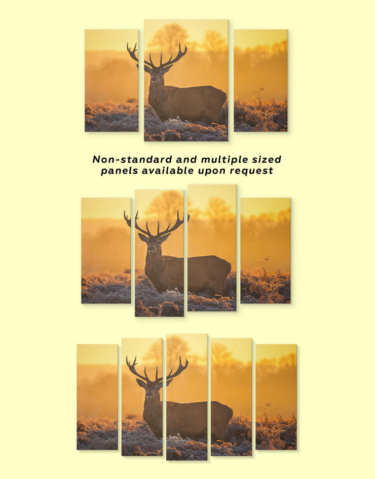 Stag Wall Art Canvas Print - 1 panel Animal bedroom deer wall art Living Room