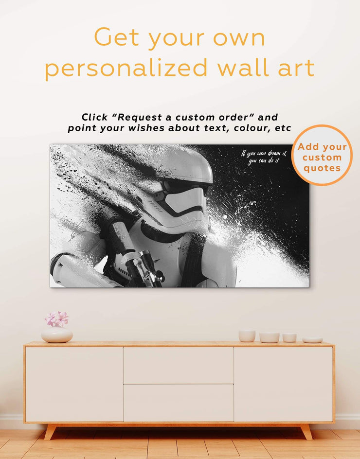 Star Wars Wall Art Canvas Print - 1 panel bedroom Black black and white wall art Living Room