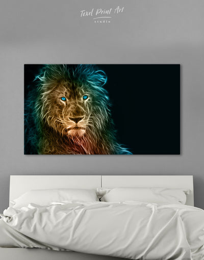 Stylized Lion Wall Art Canvas Print - 1 panel Animal Animals bedroom Black