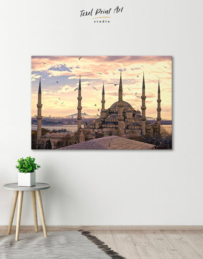 Sultan Ahmed Mosque Wall Art Canvas Print - Canvas Wall Art 1 panel Architectural Wall Art bedroom Hallway Living Room