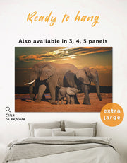 Sunset and Elephants Wall Art Canvas Print