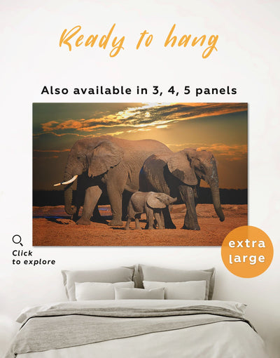Sunset and Elephants Wall Art Canvas Print - 1 panel Animal Animals bedroom Brown