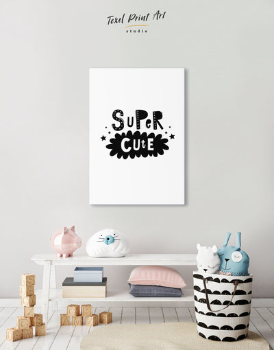 Super Cute Monochrome Nursery Art Canvas - Canvas Wall Art 1 panel black Kids room kids wall art Nursery