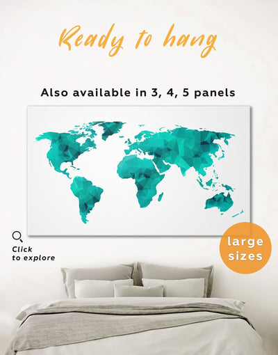 Teal Abstract Map Wall Art Canvas Print - 1 panel Abstract map abstract world map wall art bedroom Geometric