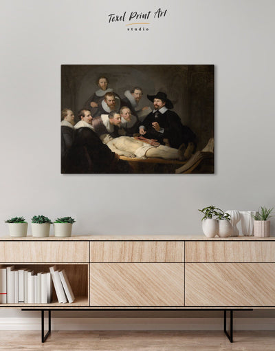 The Anatomy Lesson of Dr. Nicolaes Tulp Rembrandt Wall Art Canvas Print - Canvas Wall Art 1 panel bedroom Black Hallway Living Room