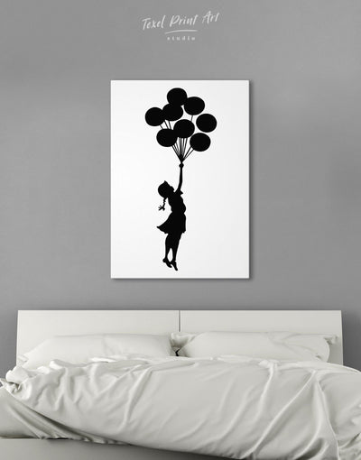 The Girl with the Balloons by Banksy Wall Art Canvas Print - 1 panel Banksy banksy wall art bedroom Black
