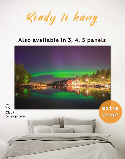 The Northern Lights Wall Art Canvas Print - 1 panel aurora borealis wall art bedroom Green landscape wall art