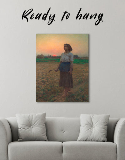 The Song Of The Lark by Jules Breton Wall Art Canvas Print - Canvas Wall Art 1 panel bedroom Hallway Jules Breton Living Room