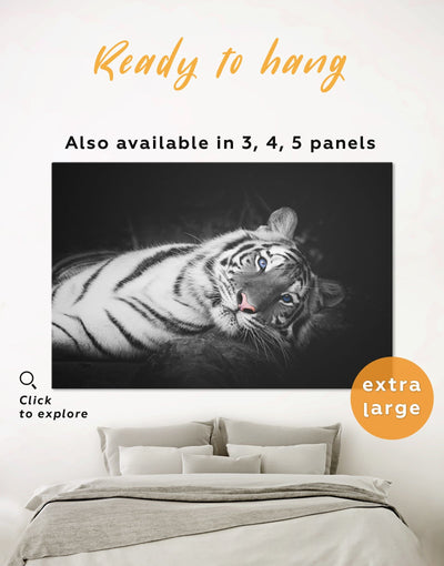 Tiger Wall Art Canvas Print - 1 panel Animal Animals bedroom black