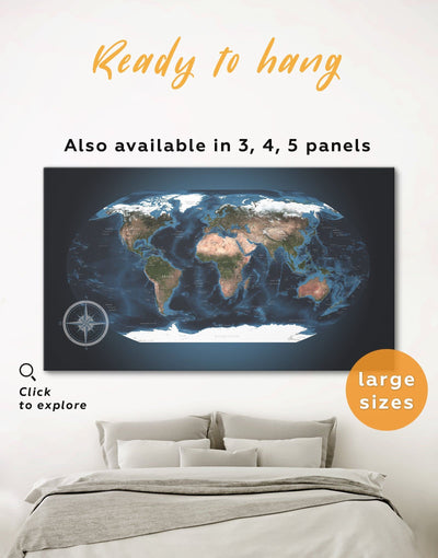 Topographic World Map Wall Art Canvas Print - 1 panel Blue blue wall art for bedroom Blue wall art for living room framed map wall art
