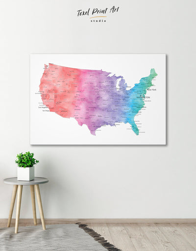Travel Map of the USA Wall Art Canvas Print - 1 panel bedroom Blue contemporary wall art corkboard