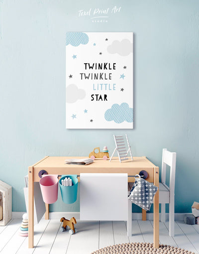 Twinkle Twinkle Little Star Artwork Nursery Canvas Art - Canvas Wall Art 1 panel Blue Kids room kids wall art Nursery