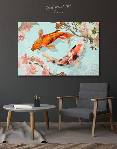 Two Koi Fish Swimming Together Wall Art Canvas Print - 1 panel Animals asian wall art bedroom japanese wall art