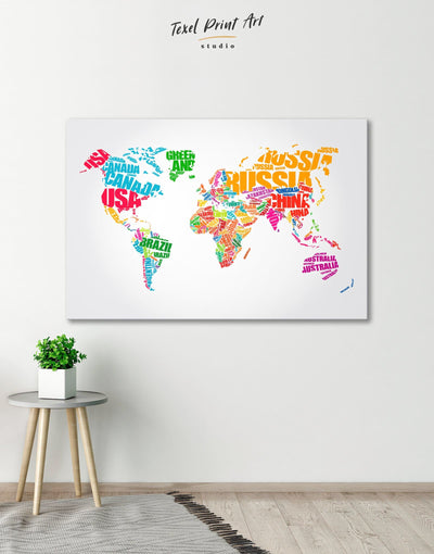 Typography World Map Wall Art Canvas Print - 1 panel Abstract map Labeled world map Living Room minimalist wall art