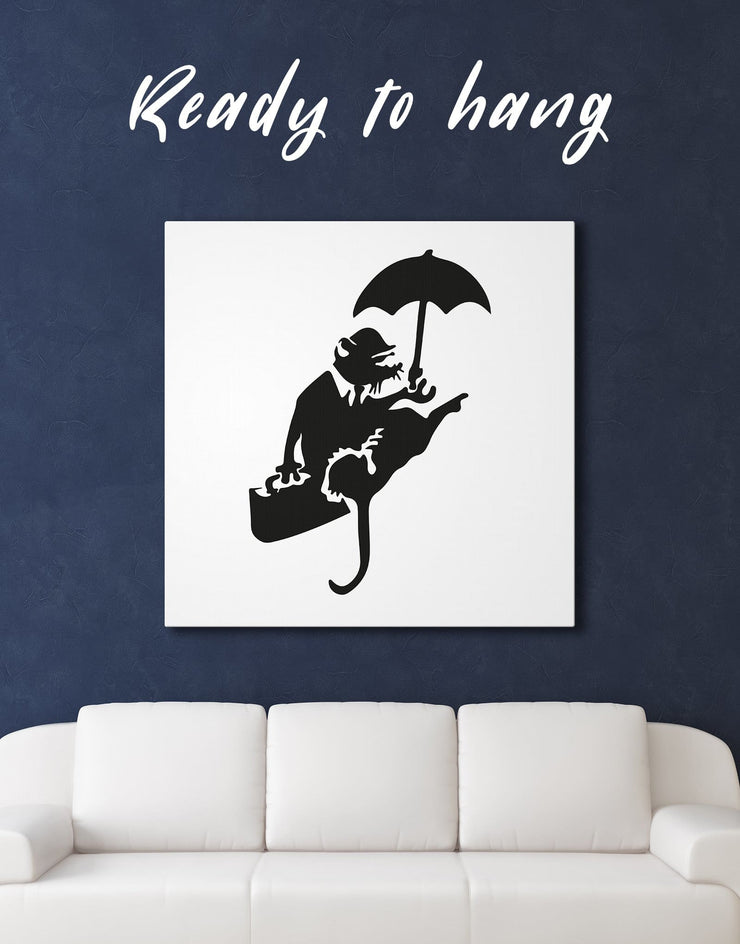 Umbrella Rat by Banksy Wall Art Canvas Print - 1 panel Banksy banksy wall art Black black and white wall art