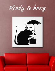 Umbrella Suitcase Rat by Banksy Wall Art Canvas Print