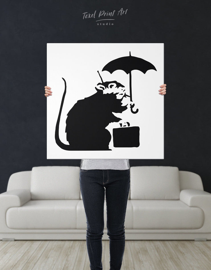 Umbrella Suitcase Rat by Banksy Wall Art Canvas Print - 1 panel Banksy banksy wall art Black black and white wall art