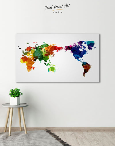 Unique World Map Wall Art Canvas Print - 1 panel Abstract map corkboard Hallway Living Room