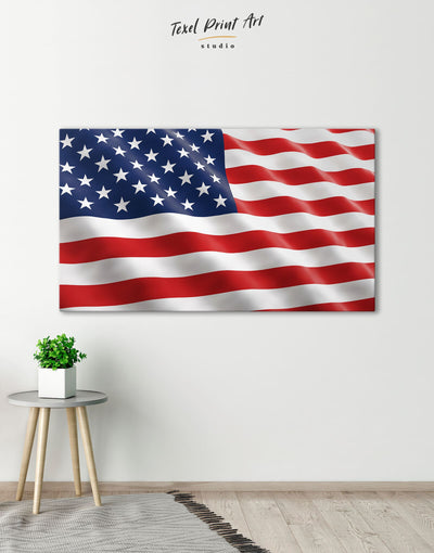 USA Flag Wall Art Canvas Print - 1 panel American flag bedroom blue Flag Wall Art