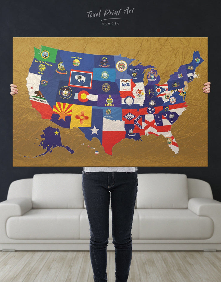 USA Golden Map Wall Art Canvas Print - 1 panel Abstract Country Map Flag Wall Art Gold