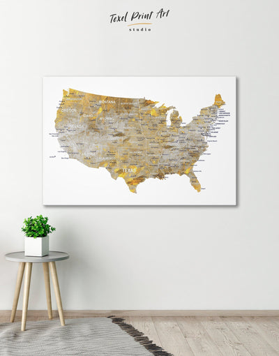 USA States Golden Map Wall Art Canvas Print - 1 panel bedroom contemporary wall art corkboard Country Map
