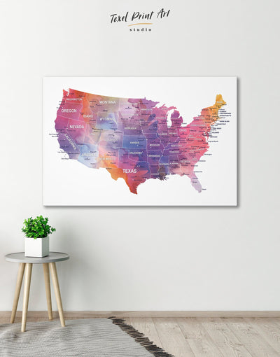USA States Map Wall Art Canvas Print - 1 panel bedroom contemporary wall art corkboard Country Map