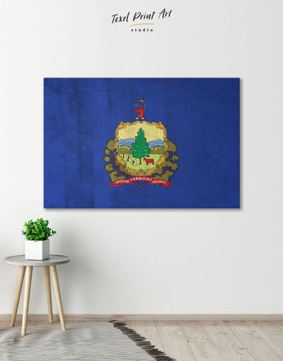 Vermont Flag Wall Art Canvas Print - 1 panel Blue flag wall art Hallway Living Room