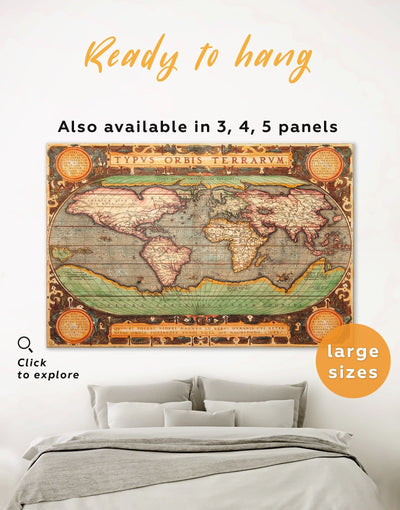 Vintage Map Wall Art Canvas Print - 1 panel Antique Antique world map canvas bedroom Brown