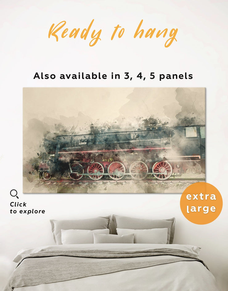 Vintage Train Wall Art Canvas Print - 1 panel bedroom Hallway Living Room Office Wall Art