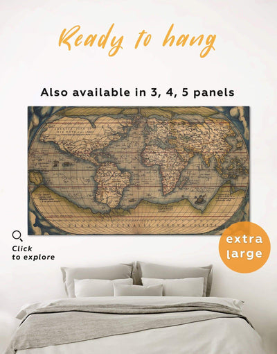 Vintage World Map Wall Art Canvas Print - 1 panel Antique world map canvas bedroom Brown Hemisphere World Map