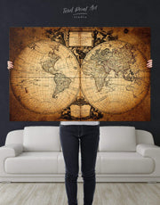 Vintage World Map Wall Art Canvas Print 0734