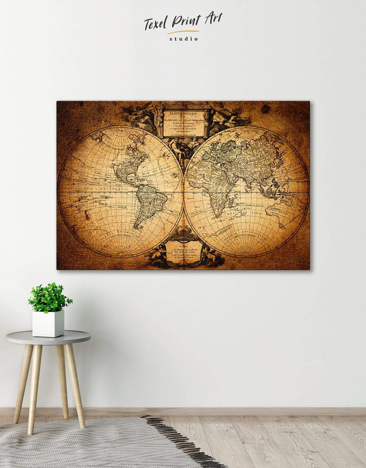 Vintage World Map Wall Art Canvas Print - 1 panel Antique world map canvas bedroom Brown double hemisphere world map