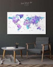 Violet Travel Map Wall Art Canvas Print