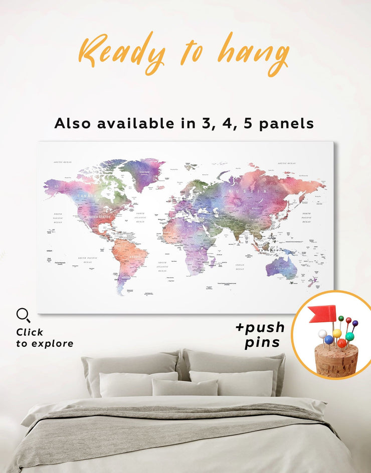 Violet Watercolor World Map Wall Art Canvas Print - 1 panel Contemporary contemporary wall art corkboard Living Room