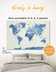 Watercolor Blue World Map Wall Art Canvas Print