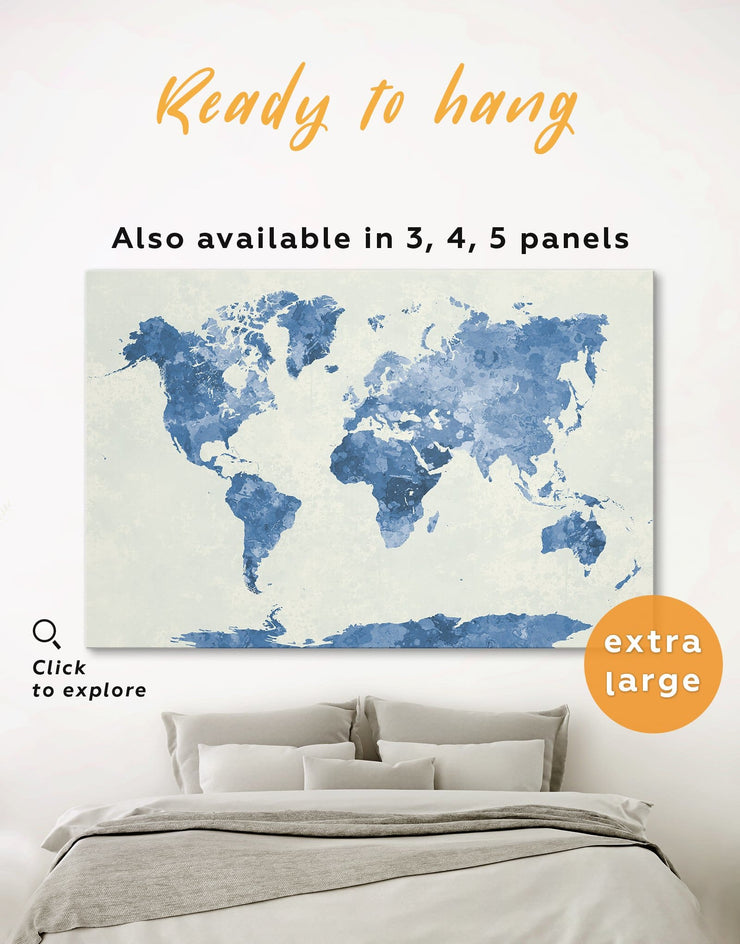 Watercolor Blue World Map Wall Art Canvas Print - 1 panel Abstract map aqua blue Blue Blue Abstract Wall art